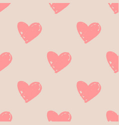 Tile pattern with pink hearts on pastel background vector