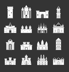 Towers and castles icons set grey vector