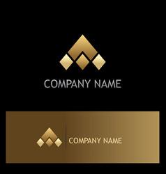 triangle gold shape company logo vector image