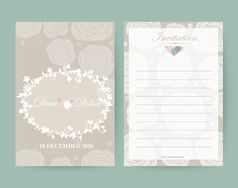Vintage wedding invitation set design Template vector image