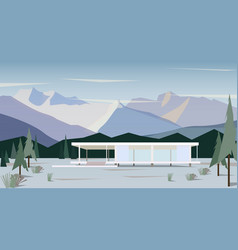 white modern house in snowy mountains vector image