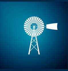 windmill icon isolated on blue background vector image
