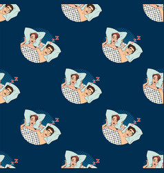 woman covering ears while man snoring in bed at vector image