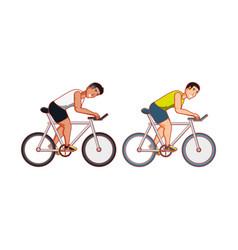 Young athletic men in bikes vector