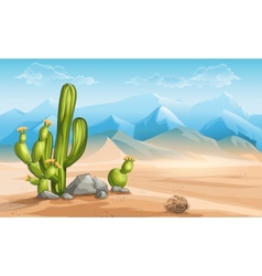 desert with cactus on a background of mountains vector image vector image