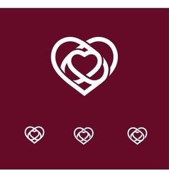 Isolated white abstract monoline heart logo set vector image vector image
