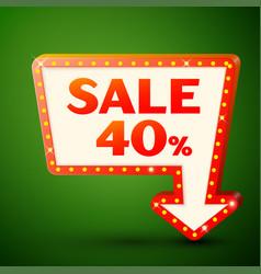 retro billboard with sale 40 percent discounts vector image vector image