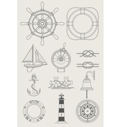 sea ship set icon vector image vector image