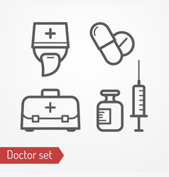 doctor icon set vector image