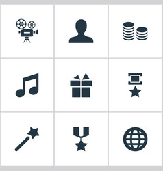 set of simple champion icons vector image