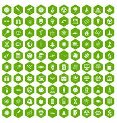 100 space technology icons hexagon green vector