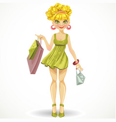 beautiful blond girl with shopping bags in green vector image