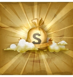 Moneybag old style background vector image vector image