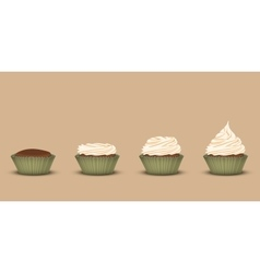 Set of cupcakes with a different amount of cream vector image