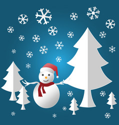 winter holiday snow and snowman for merry vector image