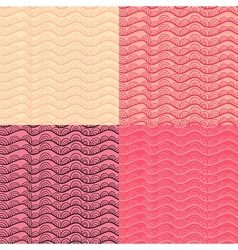 Abstract doodle seamless pattern set in rosy and vector image vector image