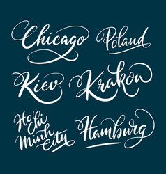 chicago and hamburg hand written typography vector image vector image
