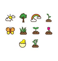 flat color spring season icon set vector image vector image