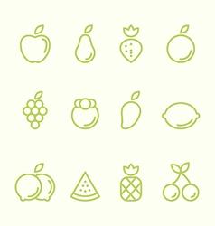Fruit outline icon set flat design vector image