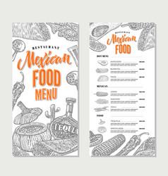 mexican food restaurant menu template vector image