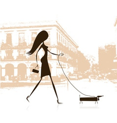 Woman walking with dog on the street vector image vector image