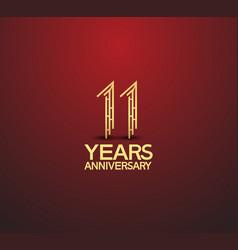 11 years golden anniversary logotype vector