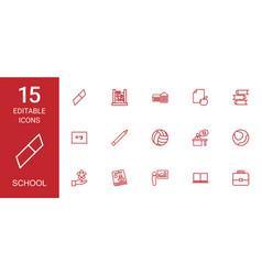 15 school icons vector image