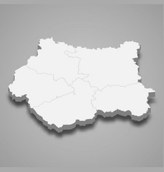 3d map west yorkshire is a ceremonial county vector