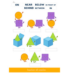 Acquaintance with prepositions place vector