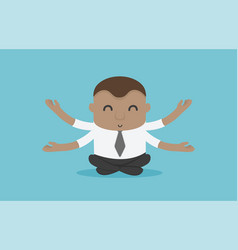 African businessman meditating with positive vector