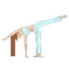 Ardha chandrasana pose Yoga girl in crescent pose vector