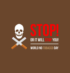 Banner of no tobacco day flat vector