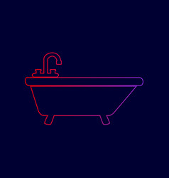 bathtub sign line icon with vector image