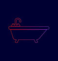 bathtub sign line icon with vector image