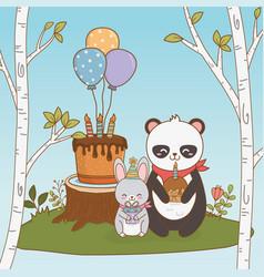 Birthday card with cute animals woodland vector