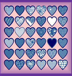 Blue hearts on a lilac background vector