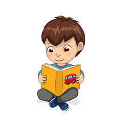 Boy reading yellow book calmly vector