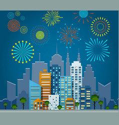 bright fireworks over night city background vector image