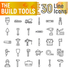build tools line icon set construction symbols vector image