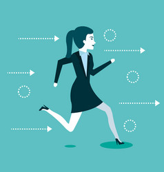 Business woman people running to success vector