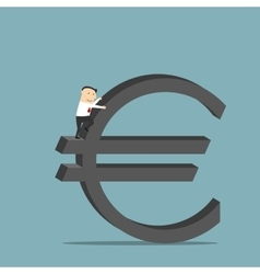 Businessman is climbing up on euro currency symbol vector image