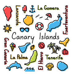 Canary islands drawing doodle colorful summer vector