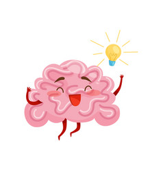 cheerful humanized brain with great idea yellow vector image