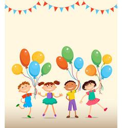 children are jumping ob summer background bunner vector image