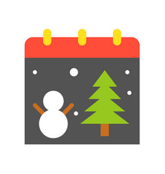 Christmas calendar christmas related flat style vector