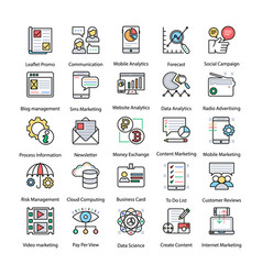 collection of internet and digital marketing lined vector image