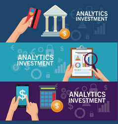 colorful banners set of analytics investment vector image