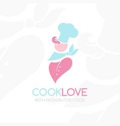 confectioner logo chef silhouette in soft colors vector image