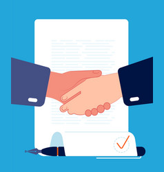 contract handshaking businessman hands sign vector image
