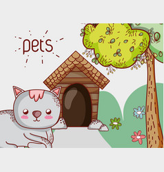 cute cat doodle cartoon vector image